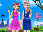 Play Elsa And Anna Spring Dress Up
